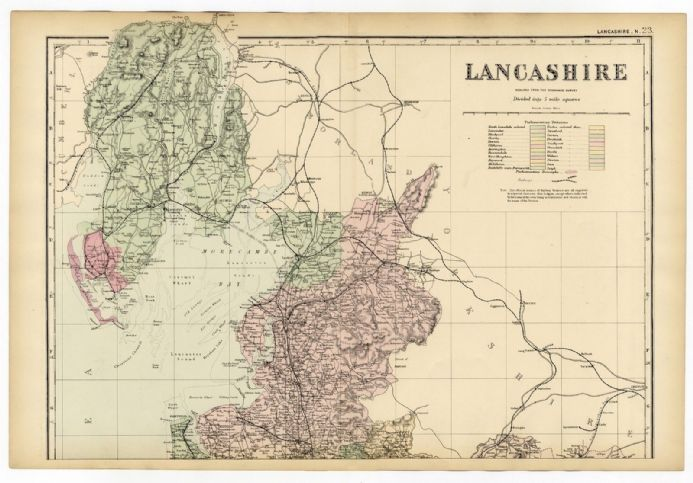 1891 Antique Map NORTH LANCASHIRE County FARMS Houses RAILWAYS Stations SOUTH LAKE DISTRICT